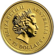 Australia 15 Dollars The Australian Nugget 2000 KM# 465 ELIZABETH II AUSTRALIA 15 DOLLARS IRB coin obverse