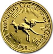 Australia 15 Dollars The Australian Nugget 2000 KM# 465 THE AUSTRALIAN NUGGET 1/10 OZ. 9999 GOLD *YEAR* coin reverse