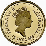Australia 15 Dollars The Australian Nugget (Prospector Privy) 1996 KM# 321 ELIZABETH II AUSTRALIA 15 DOLLARS RDM coin obverse