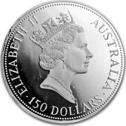 Australia 150 Dollars The Australian Kookaburra 1991 KM# 163 ELIZABETH II AUSTRALIA 150 DOLLARS RDM coin obverse