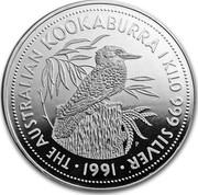 Australia 150 Dollars The Australian Kookaburra 1991 KM# 163 THE AUSTRALIAN KOOKABURRA 1 KILO 999 SILVER 1991 P coin reverse