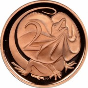 Australia 2 Cents Frilled-Neck Lizard 1984 Proof KM# 63 2 SD coin reverse