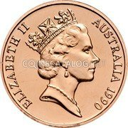 Australia 2 Cents Frilled-Neck Lizard 1990 Proof KM# 79 ELIZABETH II AUSTRALIA *YEAR* RDM coin obverse