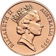 Australia 2 Cents Frilled-Neck Lizard 1990 Proof KM# 79 ELIZABETH II AUSTRALIA *YEAR* RDM coin obverse