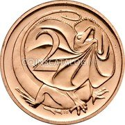 Australia 2 Cents Frilled-Neck Lizard 1990 Proof KM# 79 2 SD coin reverse