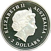 Australia 2 Dollars Australian Kookaburra 1999 Proof KM# 417.4 ELIZABETH II AUSTRALIA IRB 2 DOLLARS coin obverse