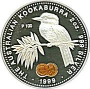 Australia 2 Dollars Australian Kookaburra 1999 Proof KM# 417.4 THE AUSTRALIAN KOOKABURRA 2 OZ. 999 SILVER P 100 1999 coin reverse