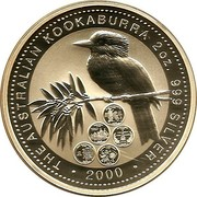 Australia 2 Dollars Kookaburra. USA State Quarters - 2000 2000 KM# 616 THE AUSTRALIAN KOOKABURRA 2OZ .999 SILVER 2000 coin reverse