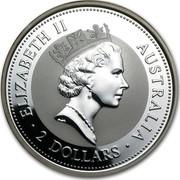 Australia 2 Dollars The Australian Kookaburra 1995 KM# 261 ELIZABETH II AUSTRALIA 2 DOLLARS RDM coin obverse
