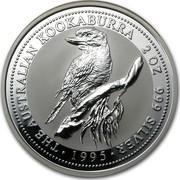 Australia 2 Dollars The Australian Kookaburra 1995 KM# 261 THE AUSTRALIAN KOOKABURRA 2 OZ. 999 SILVER *YEAR* coin reverse