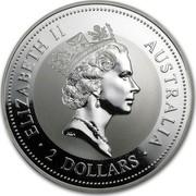 Australia 2 Dollars The Australian Kookaburra 1996 KM# 290 ELIZABETH II AUSTRALIA 2 DOLLARS RDM coin obverse