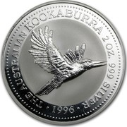 Australia 2 Dollars The Australian Kookaburra 1996 KM# 290 THE AUSTRALIAN KOOKABURRA 2 OZ. 999 SILVER *YEAR* coin reverse