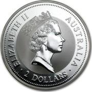 Australia 2 Dollars The Australian Kookaburra 1997 KM# 319 ELIZABETH II AUSTRALIA 2 DOLLARS RDM coin obverse