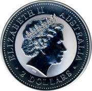 Australia 2 Dollars The Australian Kookaburra 1999 KM# 609 ELIZABETH II AUSTRALIA 2 DOLLARS IRB coin obverse