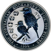 Australia 2 Dollars The Australian Kookaburra 1999 KM# 609 THE AUSTRALIAN KOOKABURRA 2 OZ. 999 SILVER 1999 P100 coin reverse