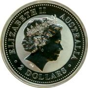 Australia 2 Dollars The Australian Kookaburra 2000 Hammered Silver King Edward Penny Privy KM# 417 ELIZABETH II AUSTRALIA 2 DOLLARS IRB coin obverse