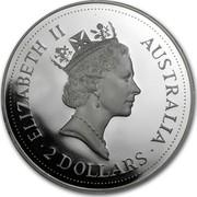 Australia 2 Dollars (The Australian Kookaburra) KM# 227 ELIZABETH II AUSTRALIA 2 DOLLARS RDM coin obverse
