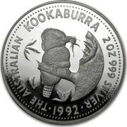 Australia 2 Dollars (The Australian Kookaburra) KM# 227 THE AUSTRALIAN KOOKABURRA 2 OZ.999 SILVER *YEAR* coin reverse