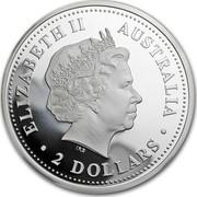 Australia 2 Dollars The Australian Kookaburra (Florin Privy) 1999 KM# 417.5 ELIZABETH II AUSTRALIA 2 DOLLARS IRB coin obverse
