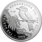 Australia 2 Dollars The Australian Kookaburra (Florin Privy) 1999 KM# 417.5 THE AUSTRALIAN KOOKABURRA 2 OZ. 999 SILVER 1999 P100 coin reverse