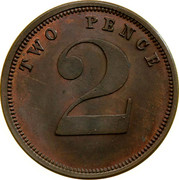 Australia 2 Pence 1851 KM# Tn247 Private Token issues TWO PENCE 2 coin obverse