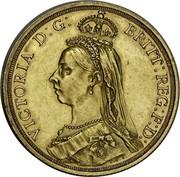 Australia 2 Pounds Victoria Queen. 50th Anniversary of Reign 1887 KM# 8 VICTORIA D:G: BRITT: REG: F:D: J.E.B. coin obverse