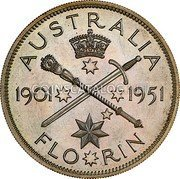 Australia 2 Shillings (1 Florin) 1951(L) Proof KM# 47a Sterling coinage coin reverse