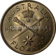 Australia 2 Shillings (1 Florin) 50 Years of Federation 1951 KM# 47 AUSTRALIA 1901 1951 FLO*RIN coin reverse