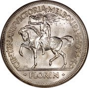 Australia 2 Shillings (1 Florin) Victoria and Melbourne Centenary ND (1934-1935) Proof KM# 33 CENTENARY·VICTORIA·MELBOURNE·1934-35· KG FLORIN coin reverse