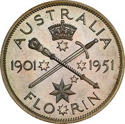 Australia 2 Shillings 50 Years of Federation (Pattern) 1951(L) Proof KM# 47a AUSTRALIA 1901 1951 FLO*RIN coin reverse