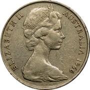 Australia 20 Cents Platypus 1966(L) Wave on base of 2 KM# 66 ELIZABETH II AUSTRALIA *YEAR* coin obverse