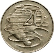 Australia 20 Cents Platypus 1966(L) Wave on base of 2 KM# 66 20 SD coin reverse