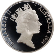 Australia 20 Cents Platypus 1991 KM# 82a ELIZABETH II AUSTRALIA 1991 RDM coin obverse