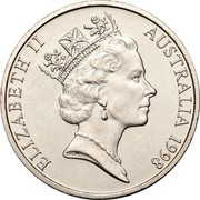 Australia 20 Cents Platypus 1998 KM# 82 ELIZABETH II AUSTRALIA *YEAR* RDM coin obverse