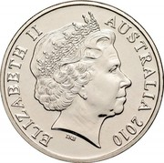 Australia 20 Cents Platypus 2010 Proof KM# 403 ELIZABETH II AUSTRALIA *YEAR* IRB coin obverse