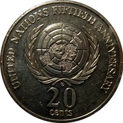 Australia 20 Cents United Nations 1995 KM# 295 NATIONS FIFTIETH ANNIVERSARY 20 CENTS coin reverse