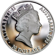 Australia 20 Dollars Olympic swimming 1993 KM# 219 ELIZABETH II AUSTRALIA 1993 20 DOLLARS RDM coin obverse