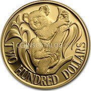 Australia 200 Dollars (Koala on branch) KM# 86 TWO HUNDRED DOLLARS coin reverse
