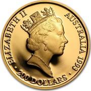 Australia 200 Dollars Olympic Games 1993 KM# 220 ELIZABETH II AUSTRALIA 1993 200 DOLLARS RDM coin obverse
