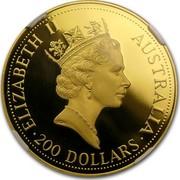 Australia 200 Dollars The Australian Nugget 1992 KM# 394 ELIZABETH II AUSTRALIA 200 DOLLARS RDM coin obverse