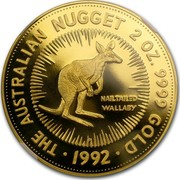 Australia 200 Dollars The Australian Nugget 1992 KM# 394 THE AUSTRALIAN NUGGET 2 OZ. 9999 GOLD 1992 NAILTAILED WALLABY P coin reverse