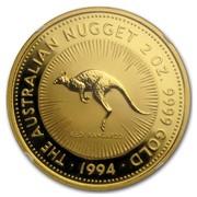 Australia 200 Dollars The Australian Nugget 1994 KM# 182 THE AUSTRALIAN NUGGET 2 OZ. 9999 GOLD RED KANGAROO *YEAR* coin reverse