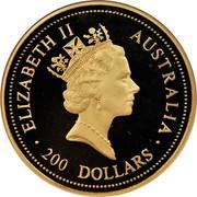 Australia 200 Dollars The Australian Nugget 1995 KM# 277 ELIZABETH II AUSTRALIA 200 DOLLARS RDM coin obverse