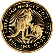 Australia 200 Dollars The Australian Nugget 1995 KM# 277 THE AUSTRALIAN NUGGET 2 OZ. 9999 GOLD 1995 coin reverse