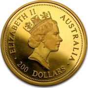 Australia 200 Dollars The Australian Nugget 1998 KM# 238 ELIZABETH II AUSTRALIA 200 DOLLARS RDM coin obverse