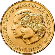 Australia 200 Dollars Wedding of Prince Charles and Lady Diana 1981 KM# 73 H.R.H. THE PRINCE OF WALES AND LADY DIANA SPENCER 200 DOLLARS coin reverse