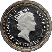 Australia 25 Cents The Dump 1989 KM# 132 ELIZABETH II AUSTRALIA 25 CENTS RDM coin obverse