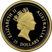 Australia 25 Dollars Kangaroo 1997 Proof KM# 340 ELIZABETH II AUSTRALIA 25 DOLLARS coin obverse