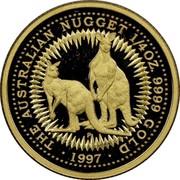 Australia 25 Dollars Kangaroo 1997 Proof KM# 340 THE AUSTRALIAN NUGGET 1/4OZ. 9999 GOLD 1997 coin reverse