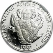Australia 25 Dollars Koala 1992 KM# 172 THE AUSTRALIAN KOALA 1/4 OZ 9995 PLATINUM 1991 coin reverse